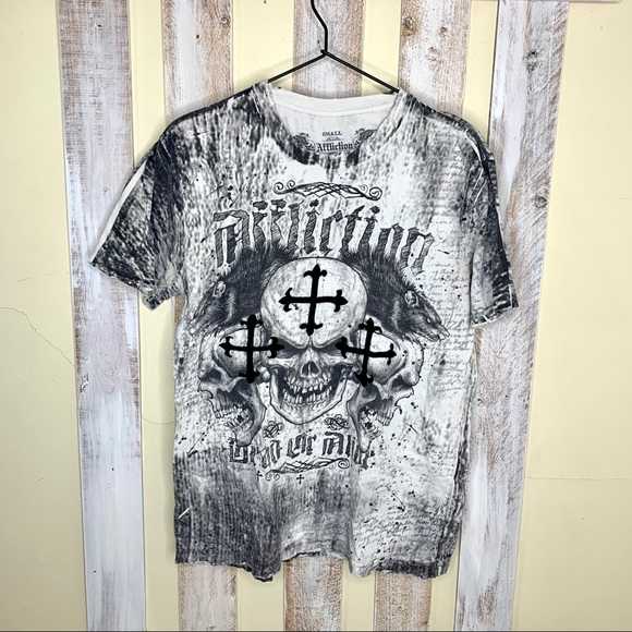 Affliction Dead or Alive Cross Distressed T-shirt